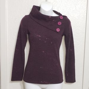Vogue Small Purple Button Long Sleeve Sweater Top